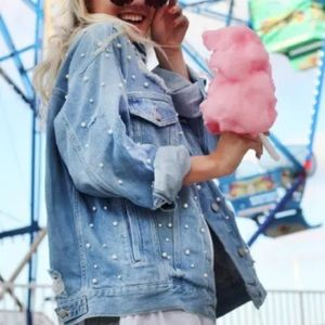 Free People Sunday Funday Embellished Denim Jacket